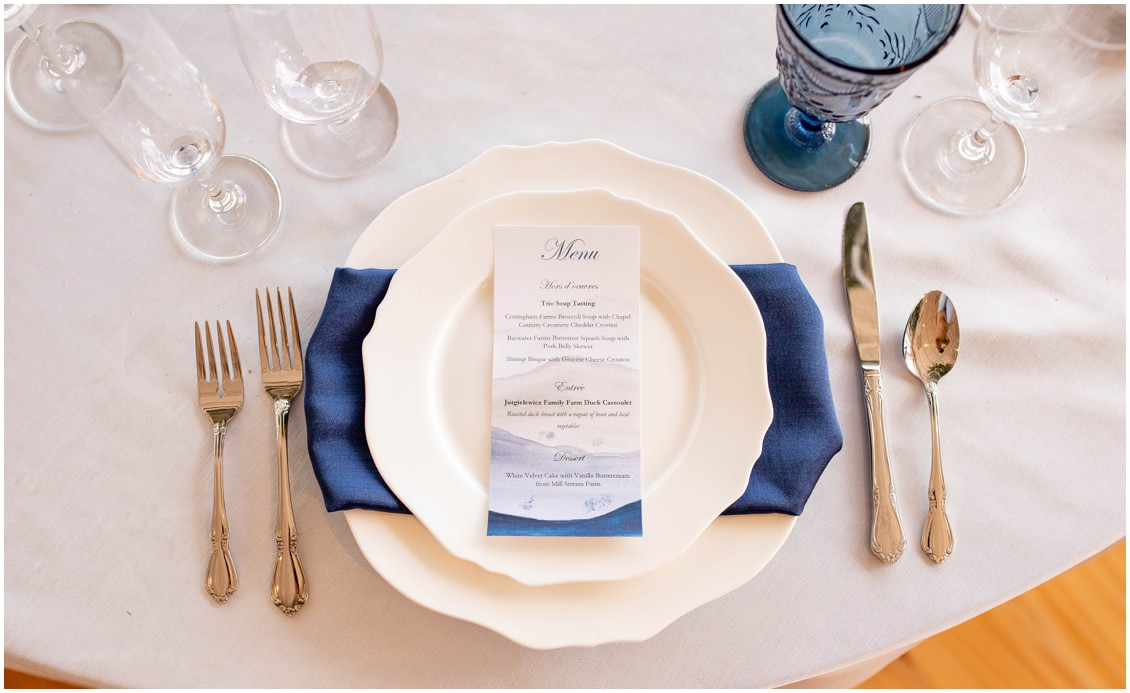 Menu and table scape details from winter wedding at Wylder hotel | My Eastern Shore Wedding | J. Starr's Flower Barn | Price Rentals