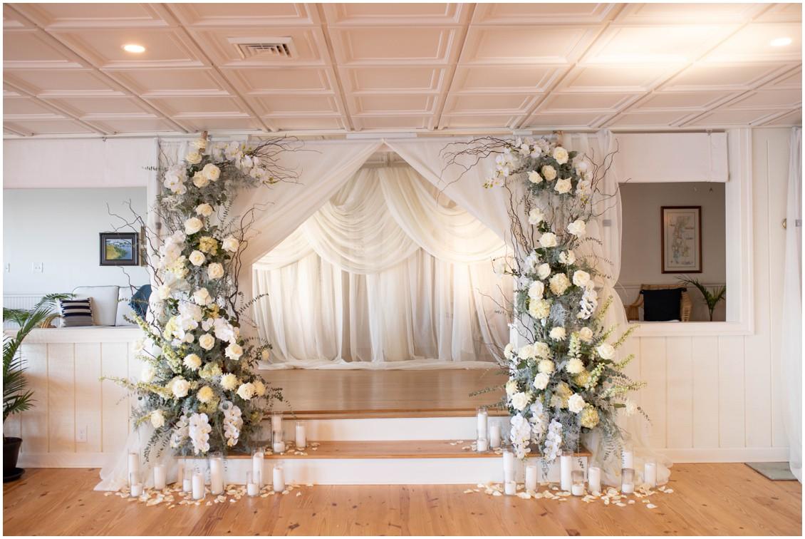 Gorgeous floral arch from winter wedding at Wylder hotel | My Eastern Shore Wedding | J. Starr's Flower Barn | Price Rentals