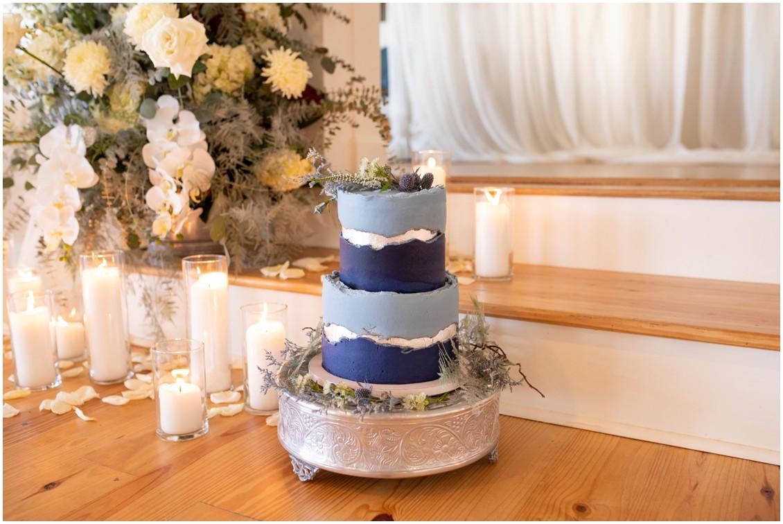 Beautiful shades of blue cake from winter wedding at Wylder hotel | My Eastern Shore Wedding | J. Starr's Flower Barn | Mill Stream Farm and Bakeshop