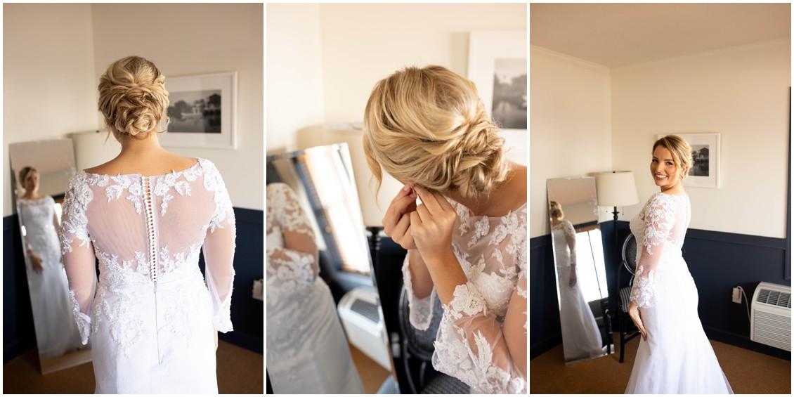 Bride getting ready for winter wedding styled shoot | My Eastern Shore Wedding |
