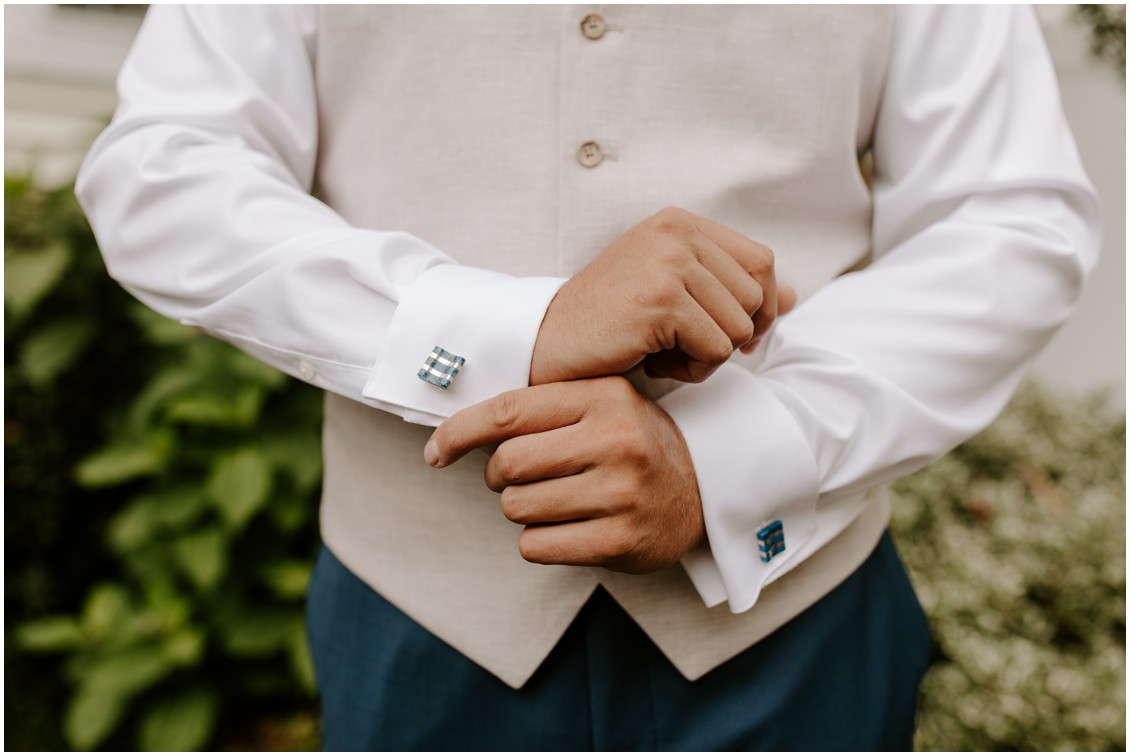 Nude and modern wedding groom is vest with cufflinks My Eastern Shore Wedding | Baywood Weddings