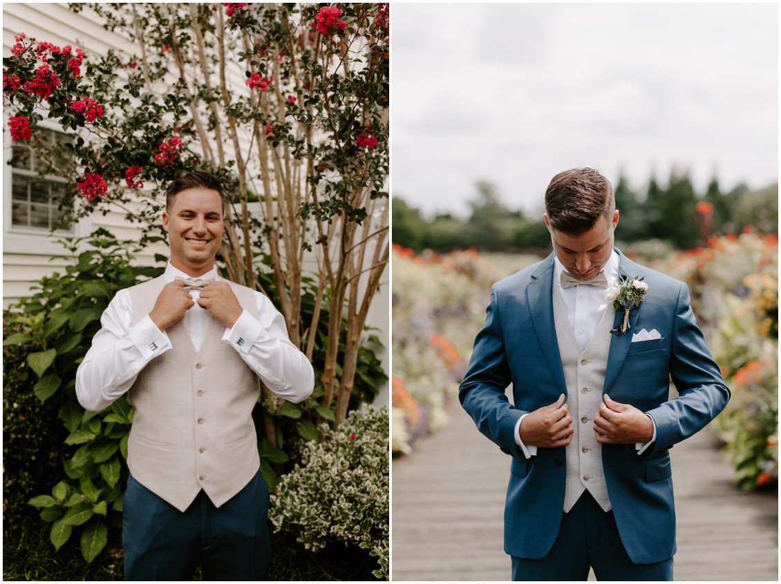 Nude and modern wedding groom in vest, bow tie, blue suit | My Eastern Shore Wedding | Baywood Weddings