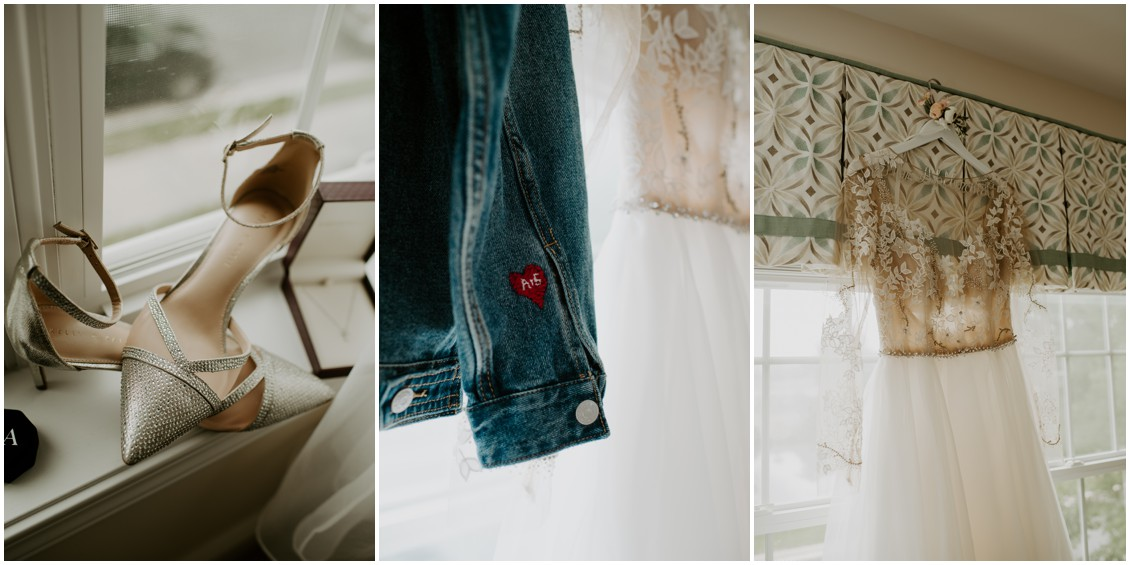 simply timeless wedding details of bridal shoes, gown and jean jacket | My Eastern Shore Wedding | Baywood Weddings