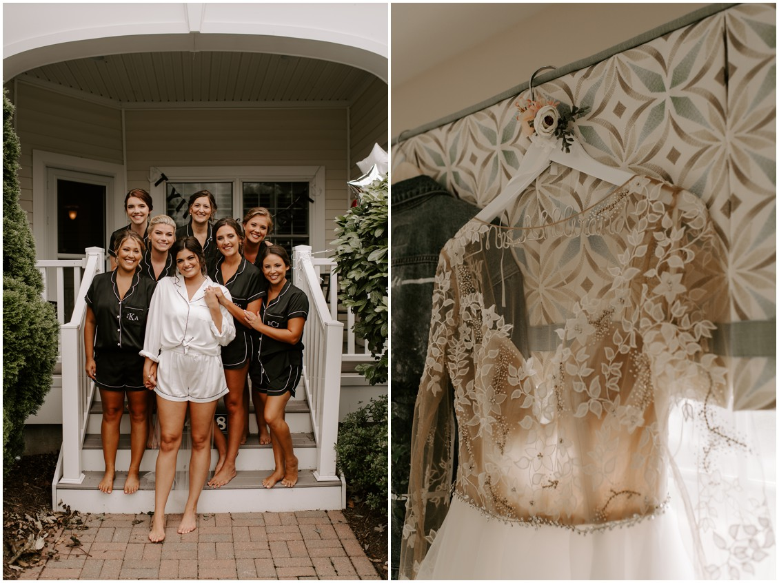 Simply timeless wedding inspo bride and bridesmaids and timeless gown | My Eastern Shore Wedding | Baywood Weddingswedding bride with bridesmaids and long sleeve dress | My Eastern Shore Wedding | Baywood Weddings