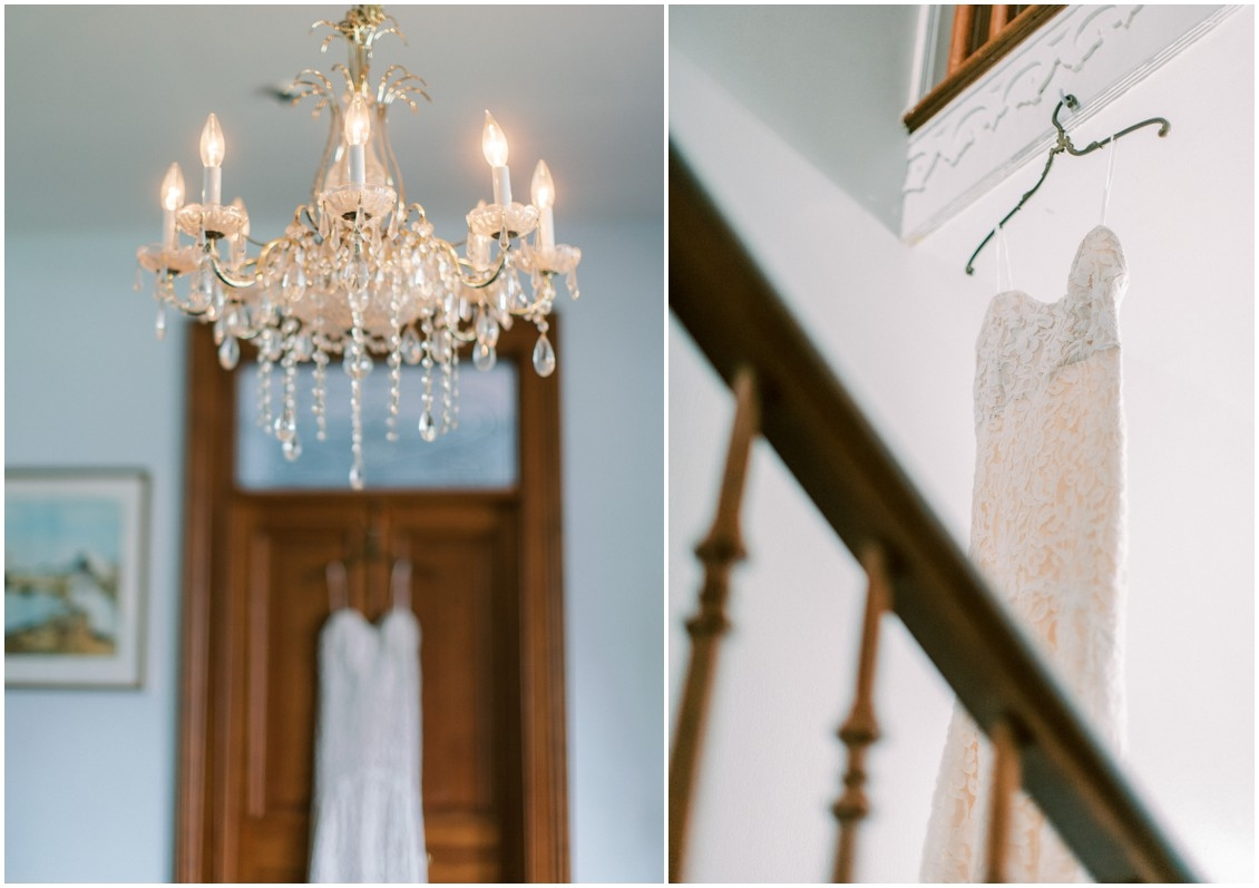 Details of bridal gown and chandelier at sweet wedding in St. Michaels | My Eastern Shore Wedding | Sweetbay Flowers