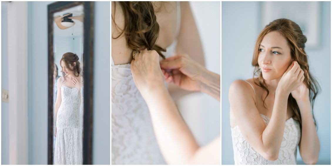 Bride getting ready for  sweet wedding in St. Michaels | My Eastern Shore Wedding | Sweetbay Flowers