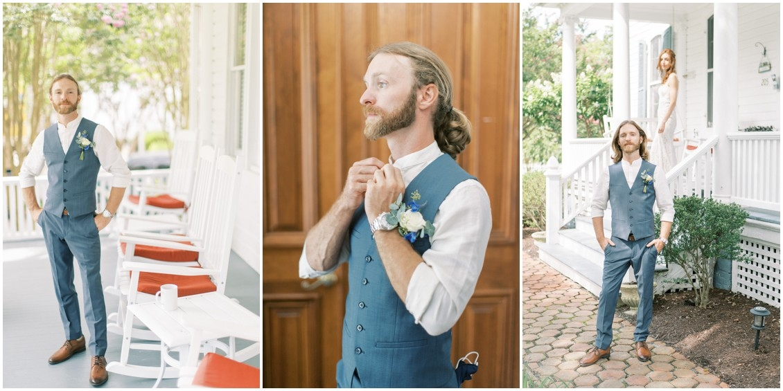Groom getting ready for sweet wedding in St. Michaels | My Eastern Shore Wedding | Sweetbay Flowers