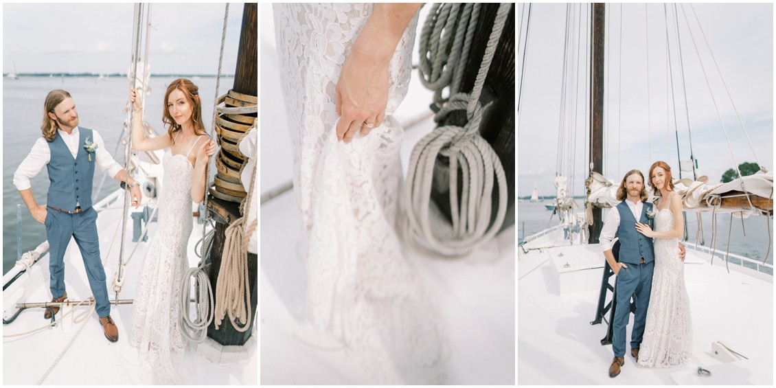 Portrait of couple on sailboat at sweet wedding in St. Michaels | My Eastern Shore Wedding