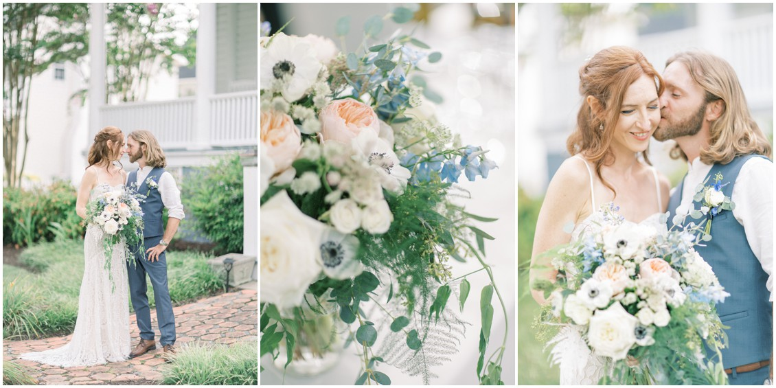 Portrait of couple at sweet wedding in St. Michaels | My Eastern Shore Wedding | Sweetbay Flowers