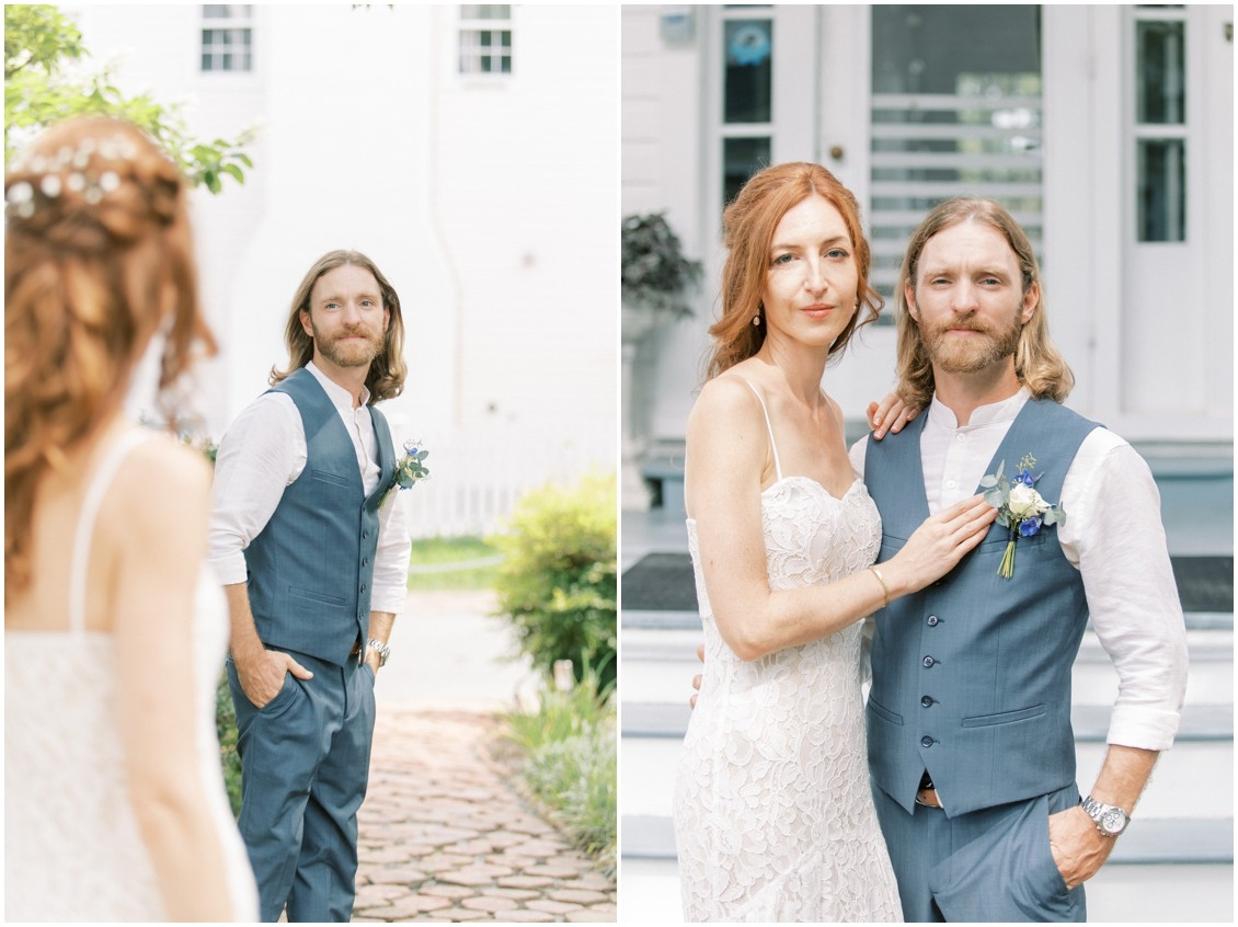 Portrait of couple at sweet wedding in St. Michaels | My Eastern Shore Wedding