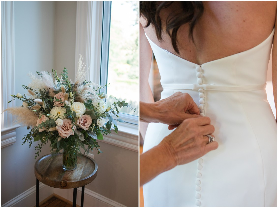 Bride getting ready neutral colored bouquets and pampas grass | My Eastern Shore Wedding | J Starr's Flower Barn