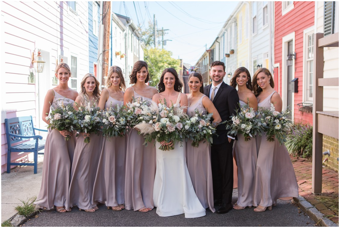 Bride with bridal party, neutral colored bouquets and pampas grass | My Eastern Shore Wedding | J Starr's Flower Barn