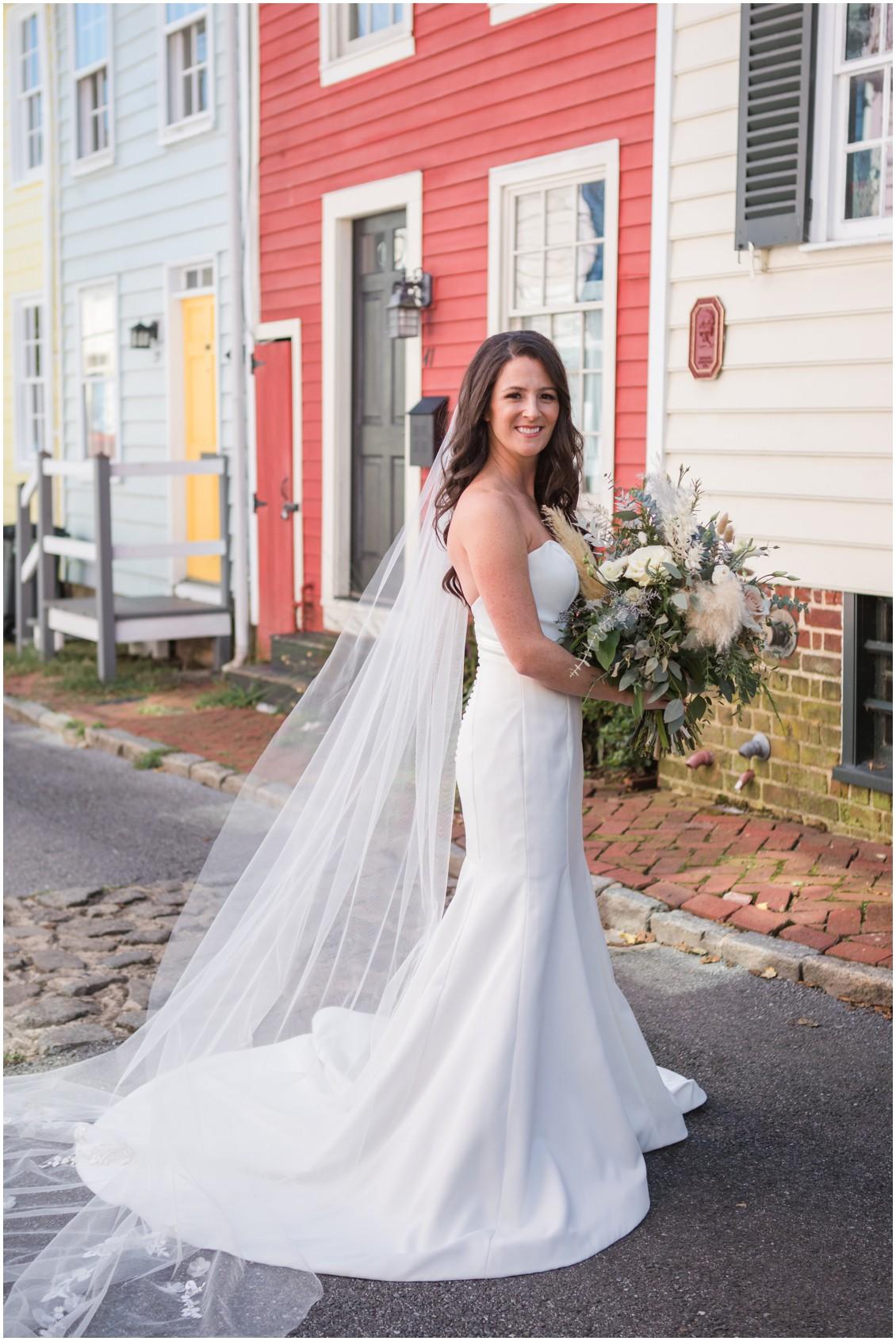 Bridal portrait neutral color bouquet with pampas grass | My Eastern Shore Wedding | J Starr's Flower Barn