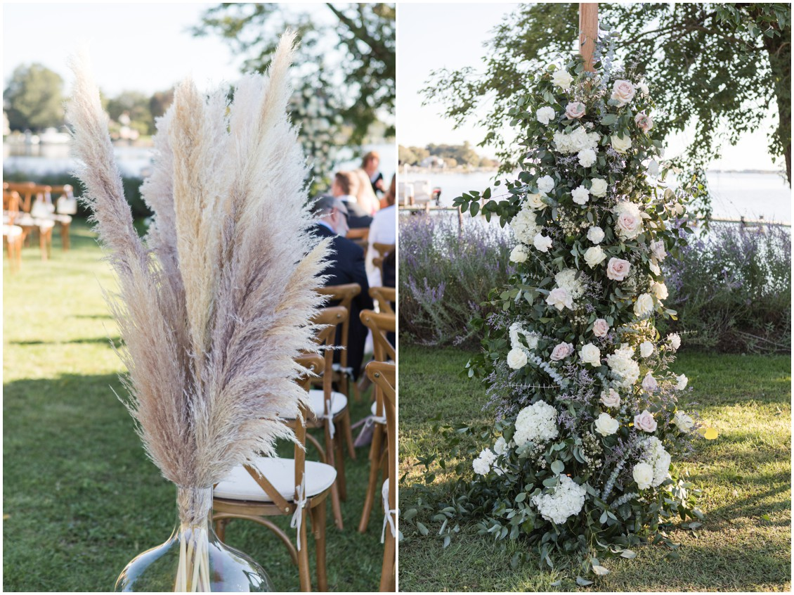 Gorgeous floral arch neutral flowers with pampas grass details  | My Eastern Shore Wedding | J Starr's Flower Barn