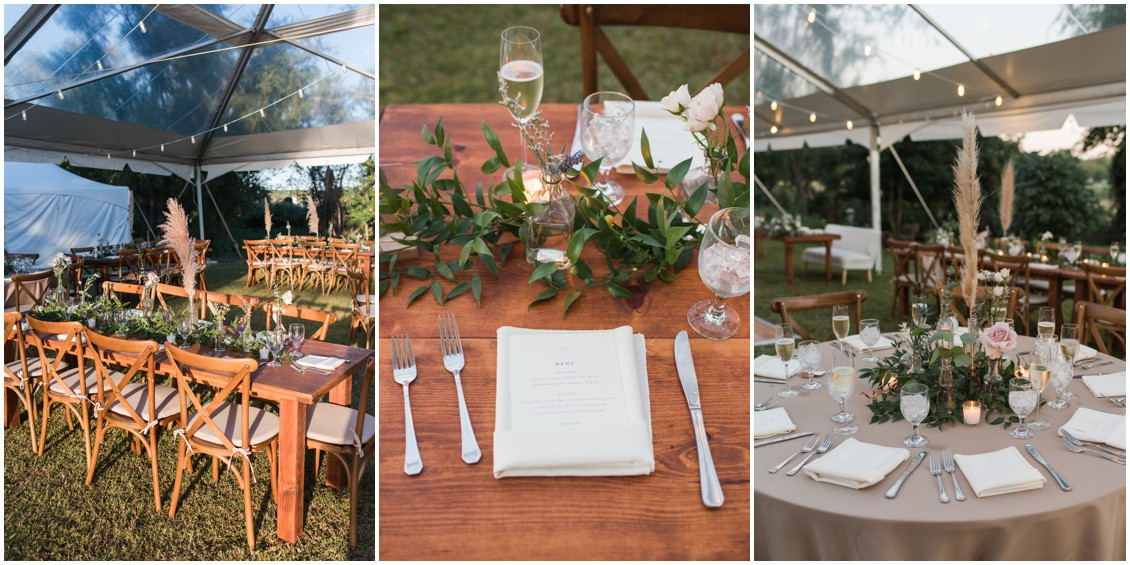 Wedding reception, clear topped tent, neutral colors and pampas grass details | My Eastern Shore Wedding | J Starr's Flower Barn