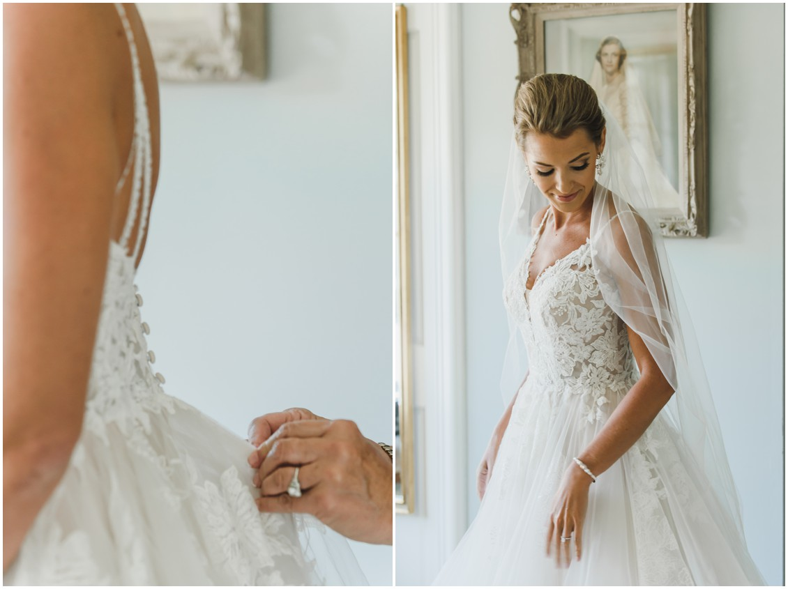 Bride getting ready for elegant and intimate at-home wedding | My Eastern Shore Wedding | Melissa Grimes-Guy Photography | Sweetbay Flowers