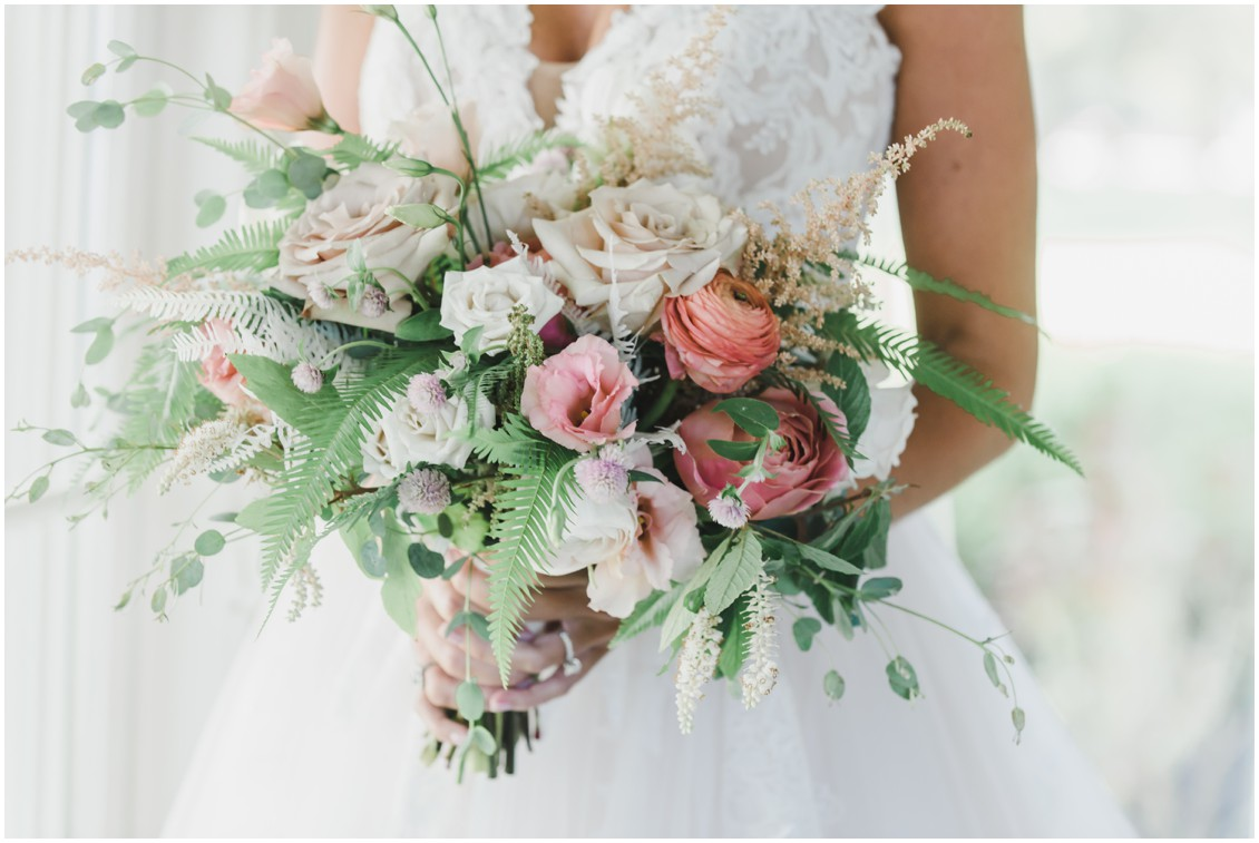 Bride with gorgeous bouquet for elegant and intimate at-home wedding | My Eastern Shore Wedding | Melissa Grimes-Guy Photography | Sweetbay Flowers