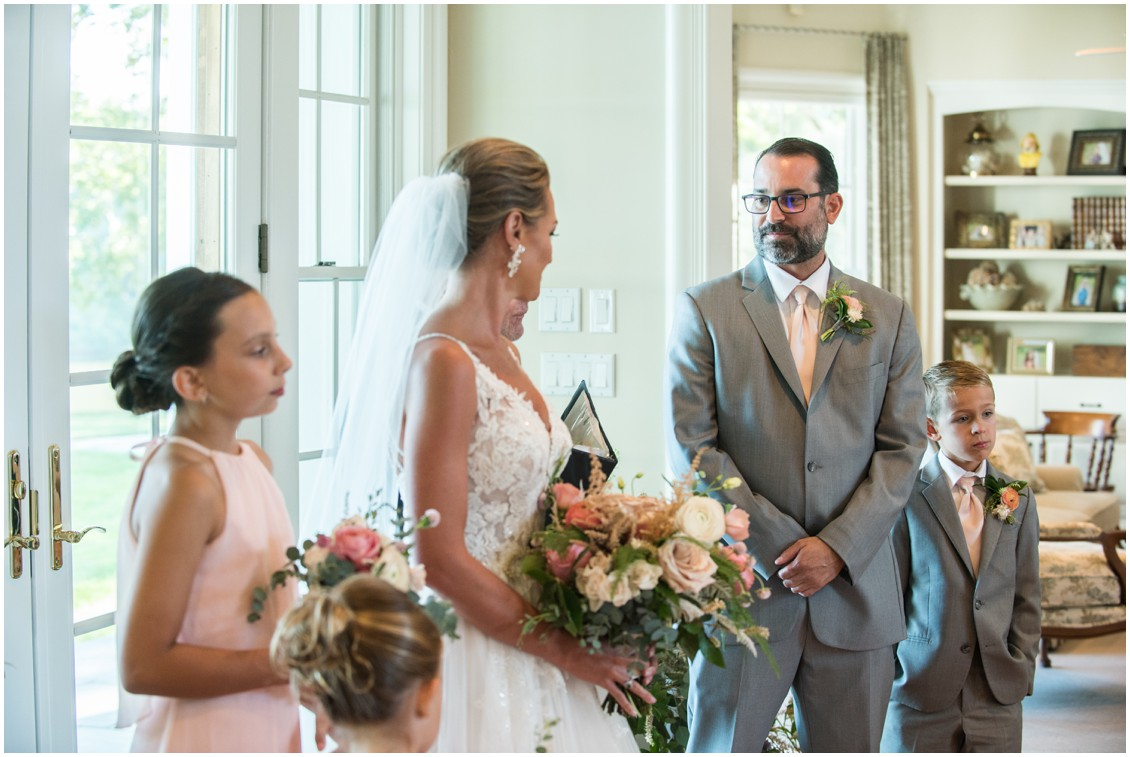 Wedding ceremony at elegant and intimate at-home wedding | My Eastern Shore Wedding | Melissa Grimes-Guy Photography