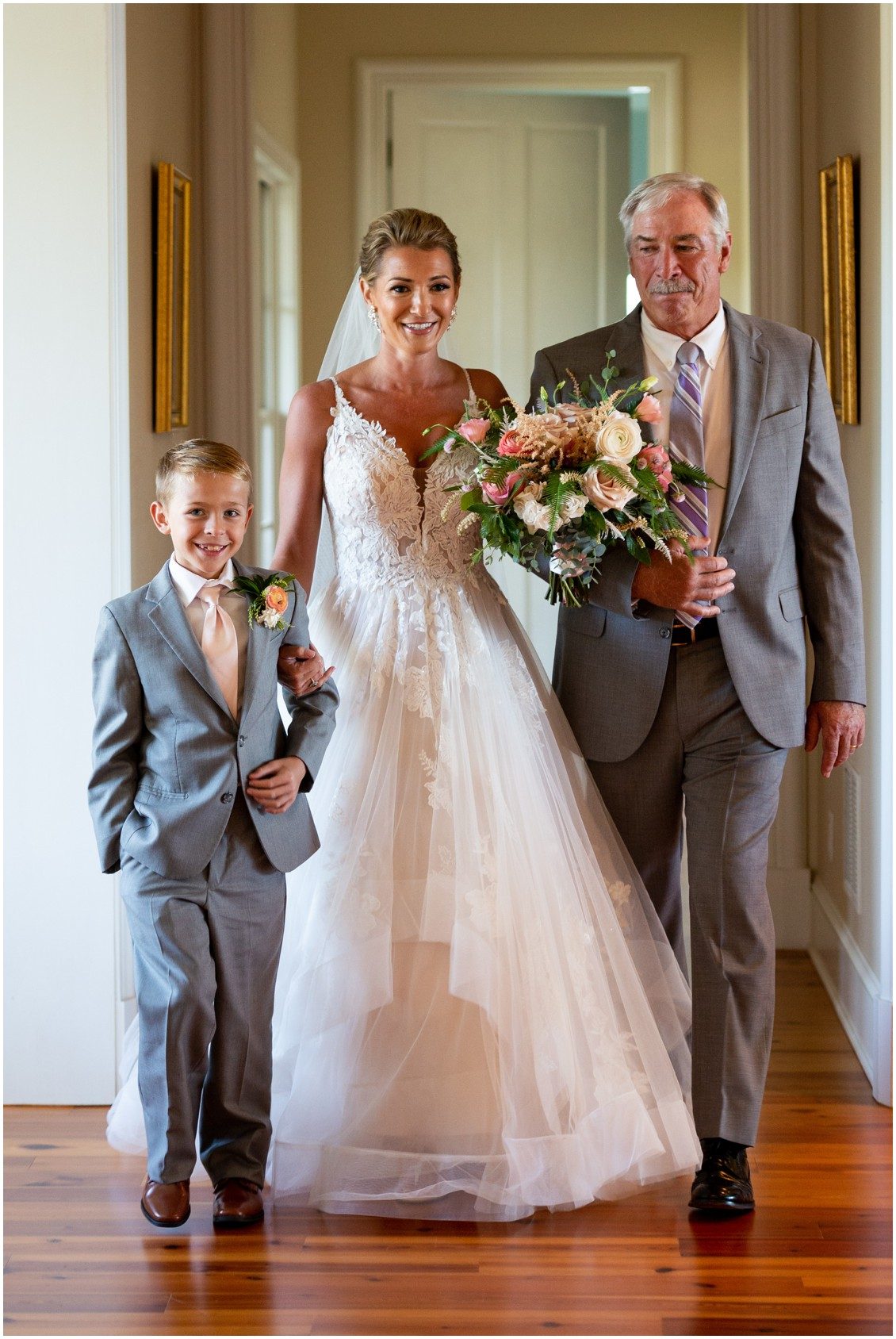Bride walking up aisle with dad and son at elegant and intimate at-home wedding | My Eastern Shore Wedding | Melissa Grimes-Guy Photography