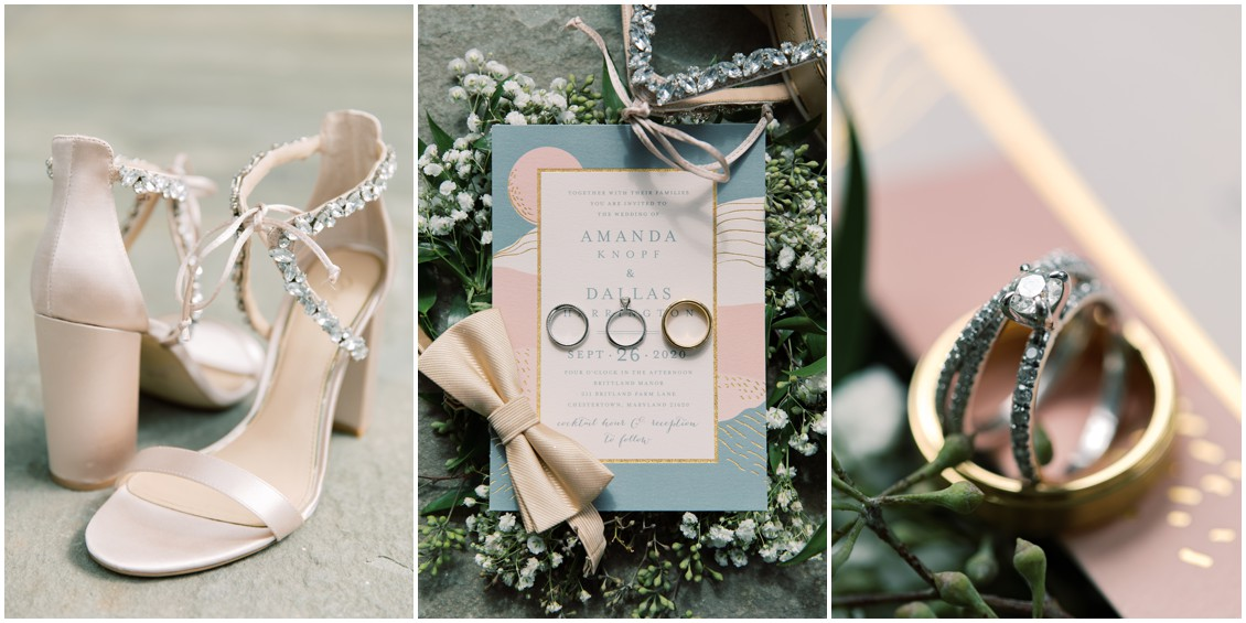 Invitation suite, pink shoes,  perfectly pink waterfront wedding | My Eastern Shore Wedding