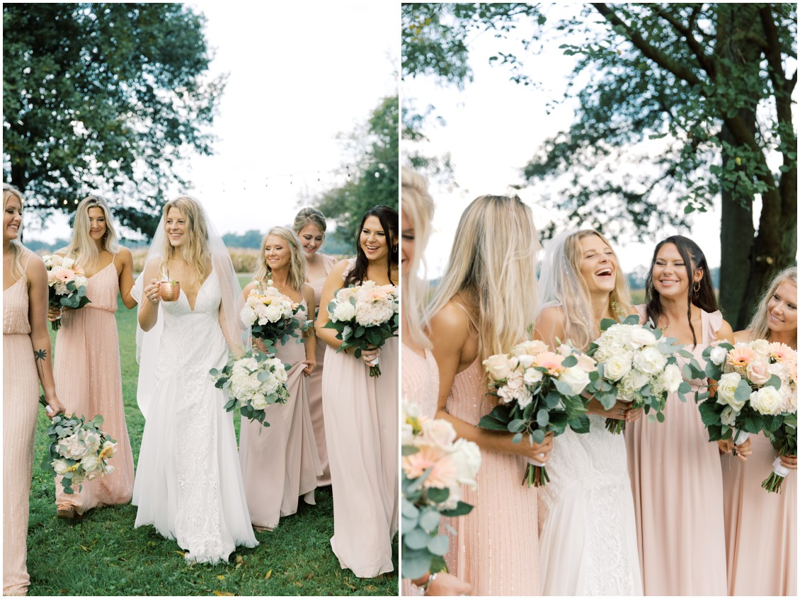 Bride with bridesmaids picturesque wedding with pops of pink | My Eastern Shore Wedding