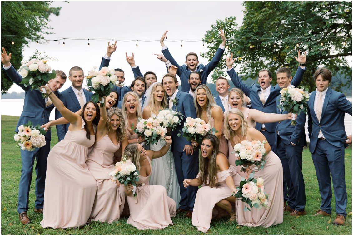 Bride and groom with bridal party picturesque wedding with pops of pink | My Eastern Shore Wedding
