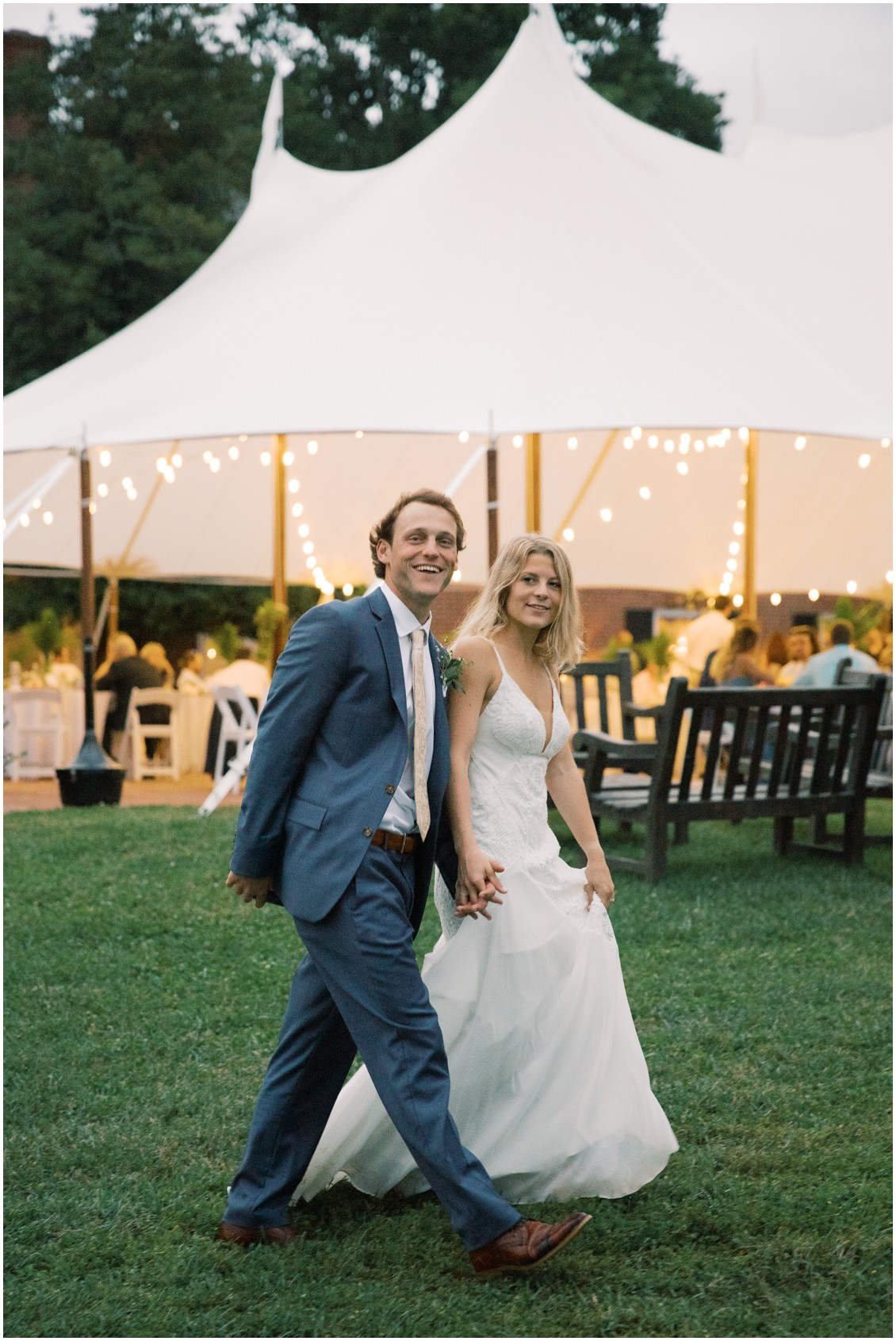 Bride and groom portrait at  picturesque wedding with pops of pink | My Eastern Shore Wedding