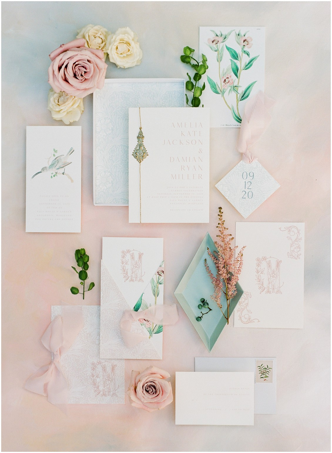 Dazzling and daydreaming styled wedding shoot by the Bay, soft romantic color palette on stationery | My Eastern Shore Wedding