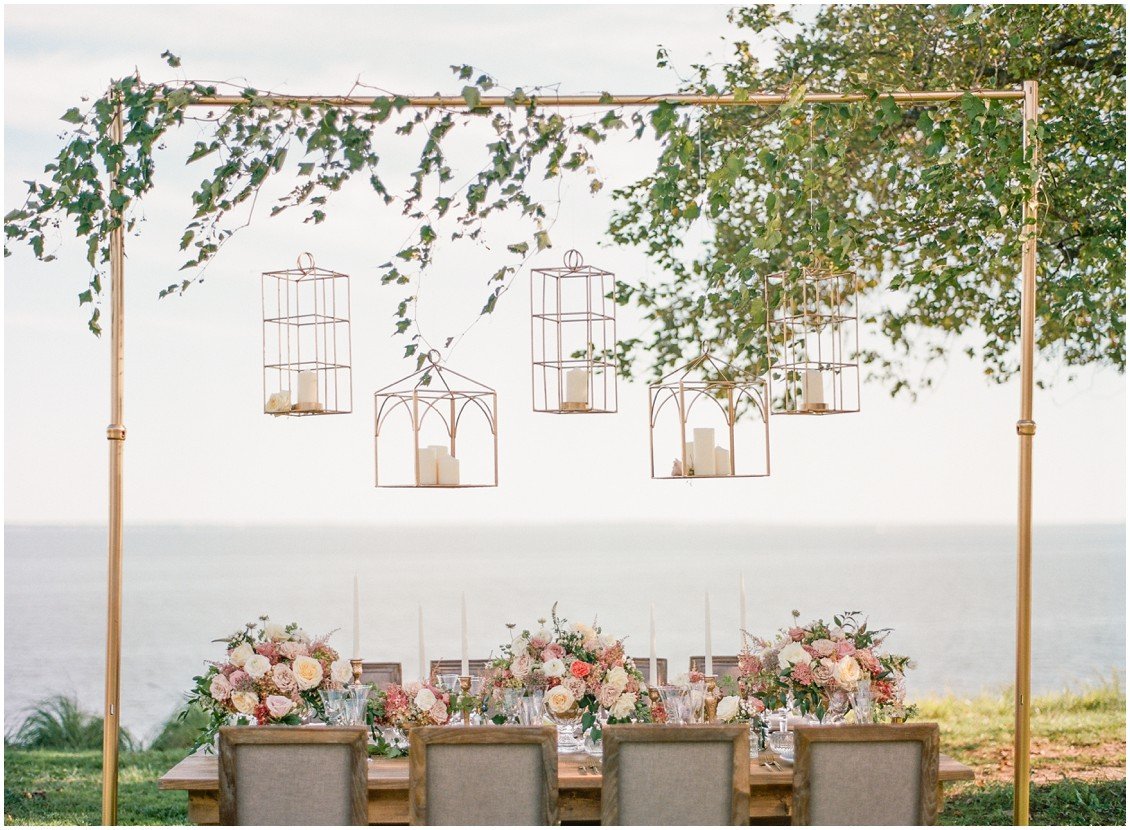 Dazzling and daydreaming styled wedding shoot by the Bay, gold lanterns, soft romantic color palette | My Eastern Shore Wedding