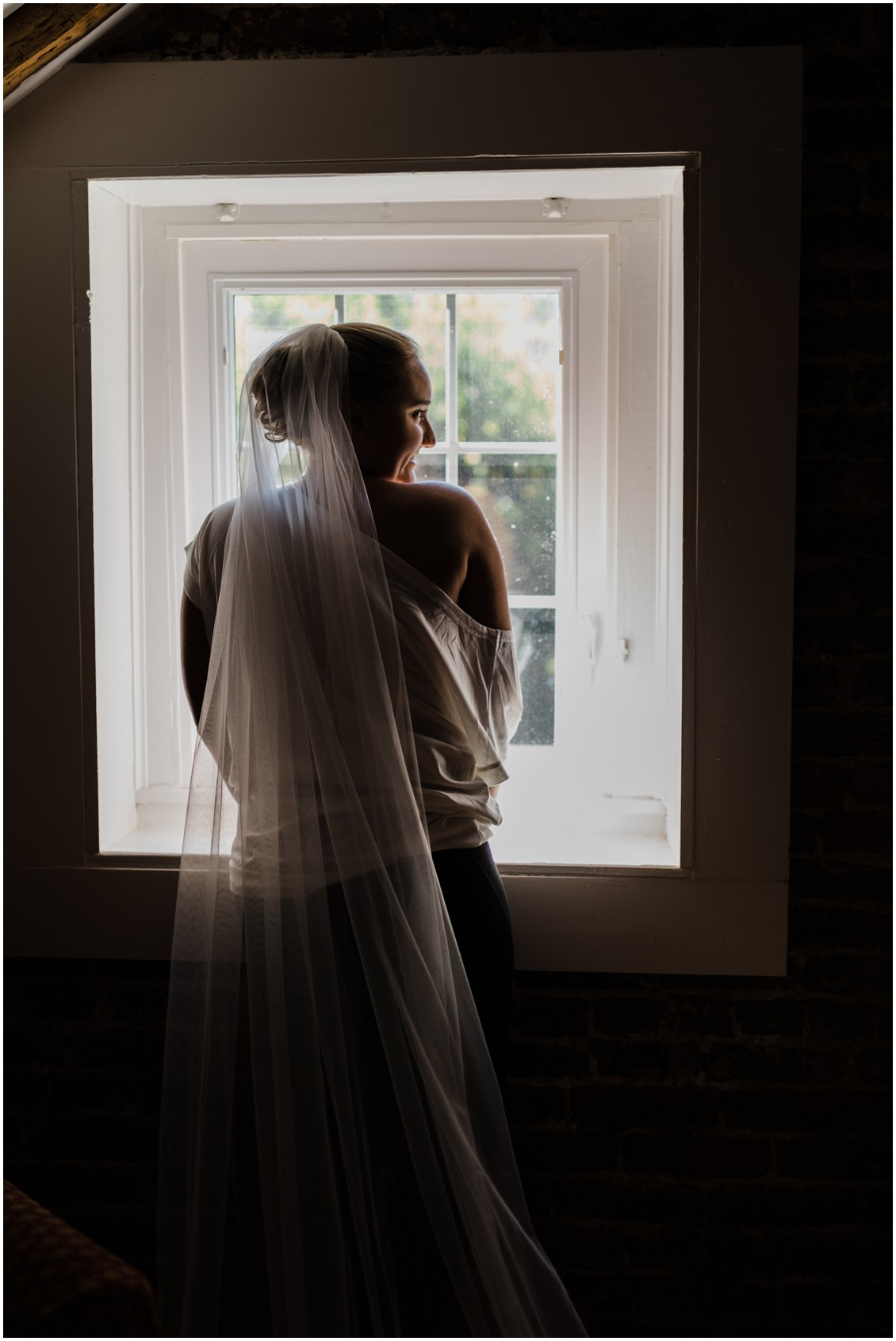 Bridal portrait backlit from window/getting ready at  sweet as pie DIY Worsell Manor Wedding | My Eastern Shore Wedding