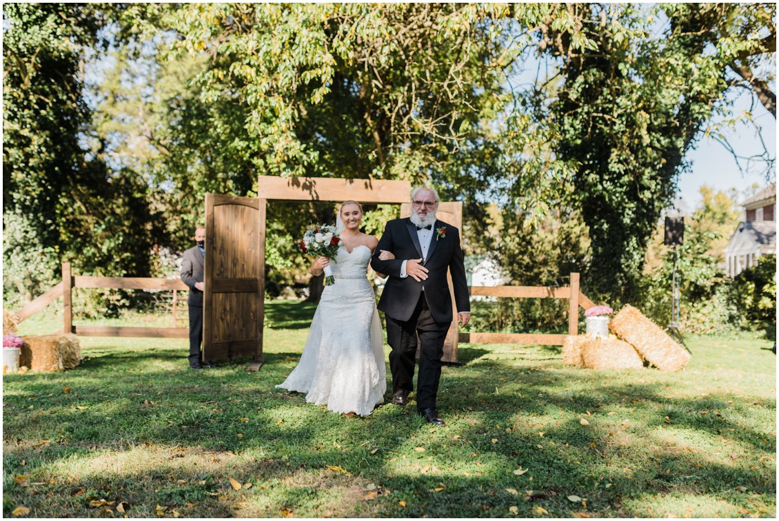 Bride walking up aisle with dad at  sweet as pie DIY Worsell Manor Wedding | My Eastern Shore Wedding