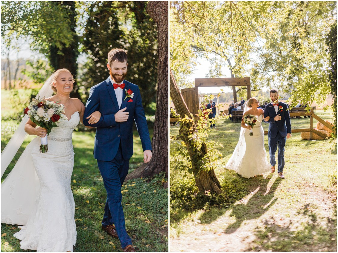 Bride and groom exchanging vows with dad at  sweet as pie DIY Worsell Manor Wedding | My Eastern Shore Wedding