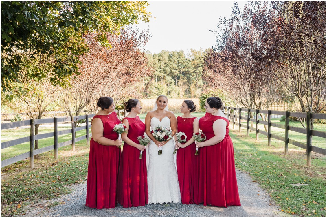 Bride with bridesmaids  at  sweet as pie DIY Worsell Manor Wedding | My Eastern Shore Wedding