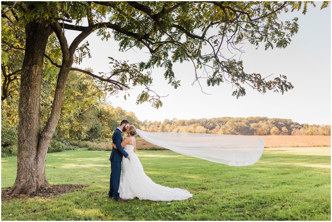 Portrait of bride and groom at sweet as pie DIY wedding at Worsell Manor | My Eastern Shore Wedding