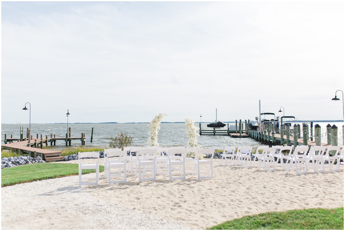 Ceremony arch at chic black tie beachside wedding | My Eastern Shore Wedding