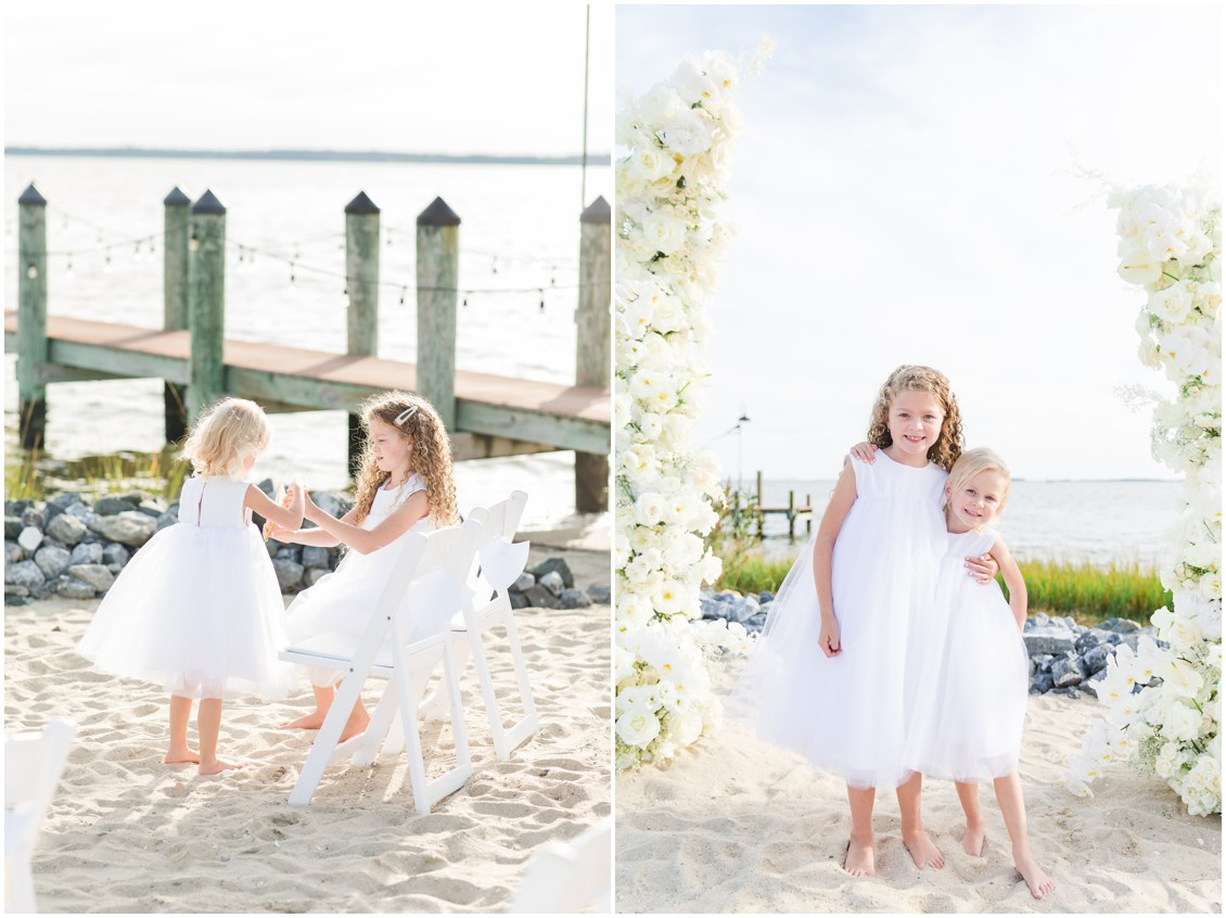 flower girls at  chic black tie beachside wedding | My Eastern Shore Wedding