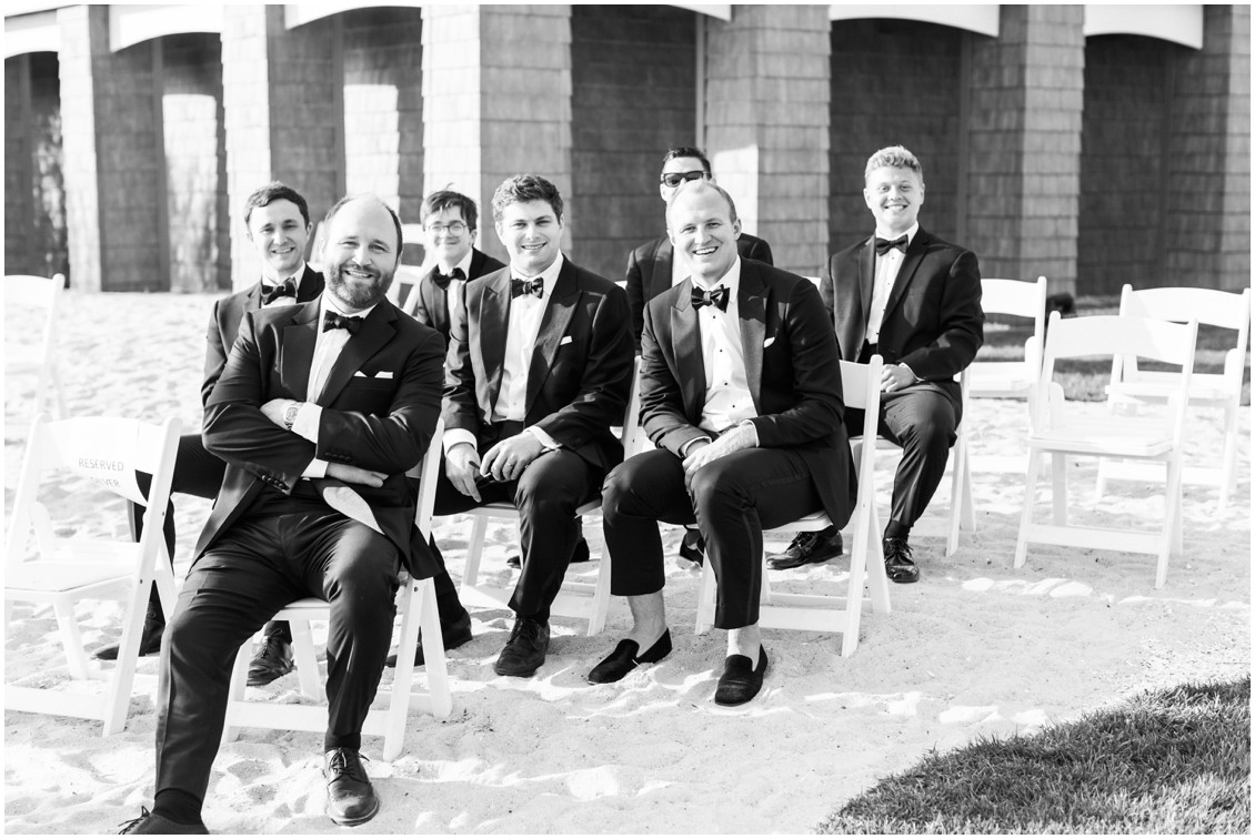 Groom with groomsmen at chic black tie beachside wedding | My Eastern Shore Wedding