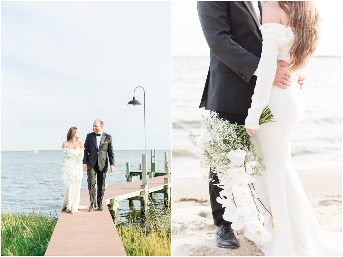 Bride and groom portraits on dock at chic black tie beachside wedding | My Eastern Shore Wedding