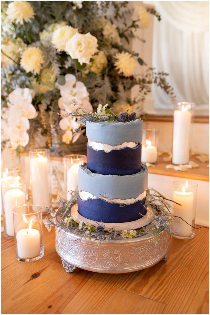 Beautiful blue and white wedding cake | My Eastern Shore Wedding | Mill Stream Farm