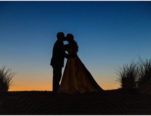 Sunset portrait views at Nicole and Raymond's Kylan Barn Wedding in Delmar, MD.