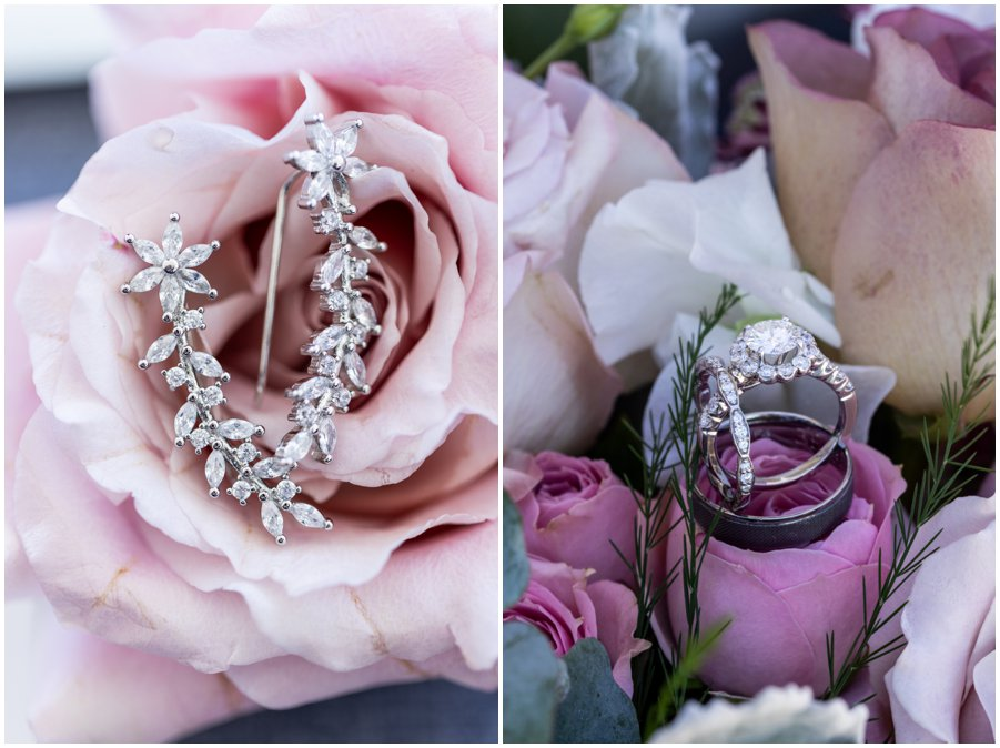 Wedding details like pretty earrings and gorgeous rings make the day perfect. Gorgeous and Rustic Barn Wedding.