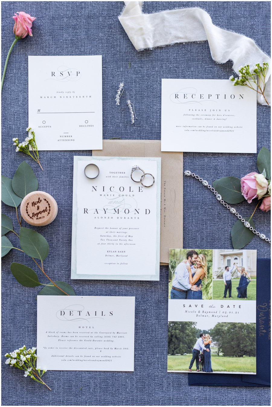 """All the gorgeous wedding invitation """"flatlay"""". Gorgeous and Rustic Barn Wedding."""