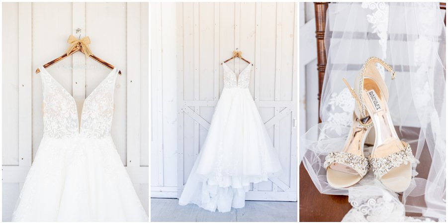 This pretty wedding dress was waiting for Nicole to put it on at the Kylan Barn.