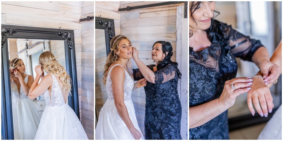 Mother of the Bride helps her daughter get ready.