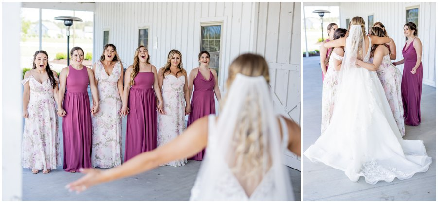 Bride reveals herself to her bridesmaids and they love it!