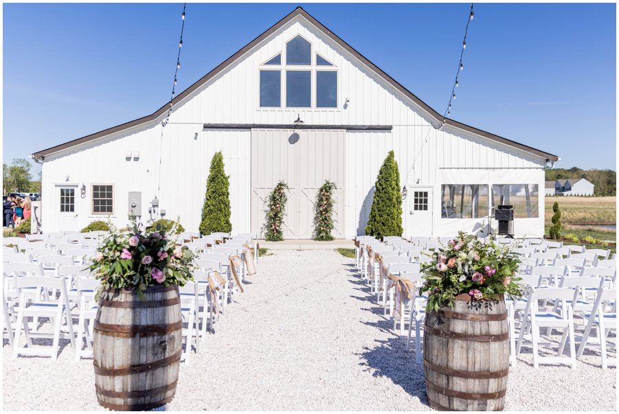 Ceremony site at a Gorgeous and Rustic Barn Wedding.