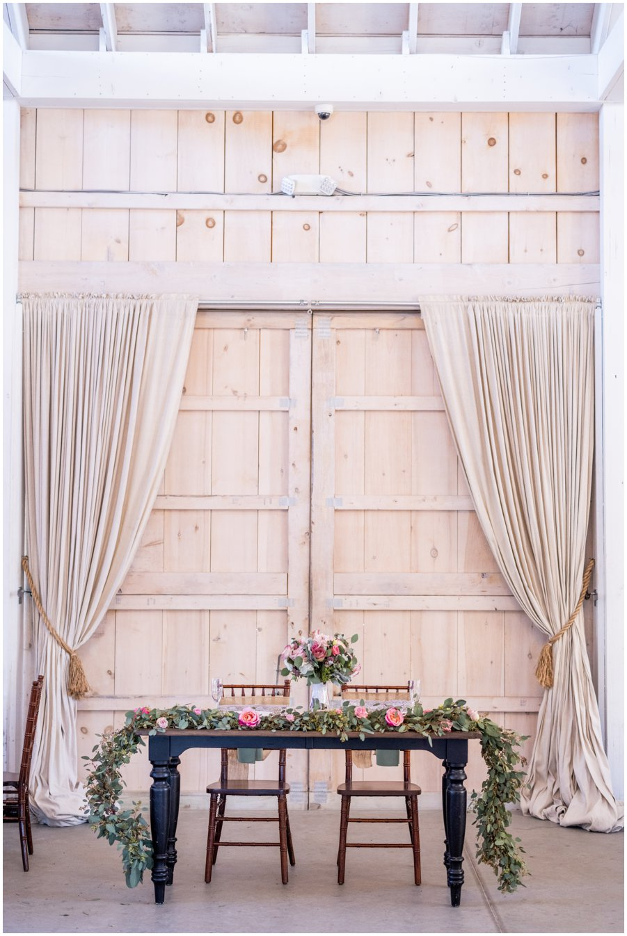 Gorgeous and Rustic Barn Wedding- Couple's table.