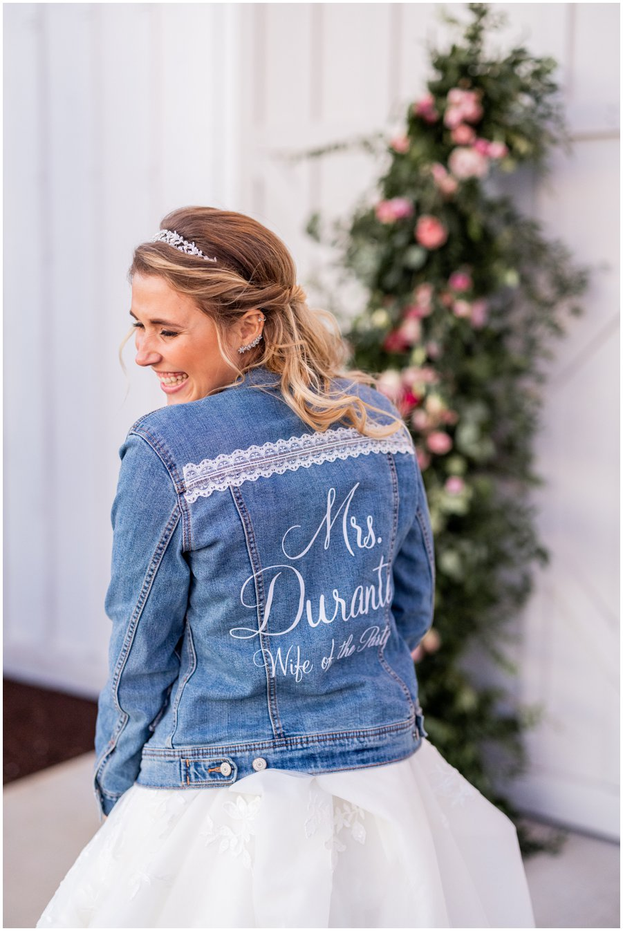 Bride wears Personalized Jean Jacket at her Gorgeous and Rustic Barn Wedding at the Kylan Barn.